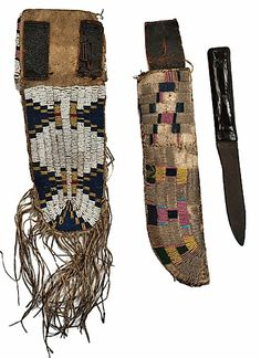 Sioux pouch and knife case coll. at Ft. Laramie, early 1860s.  Cowan Auction  ac