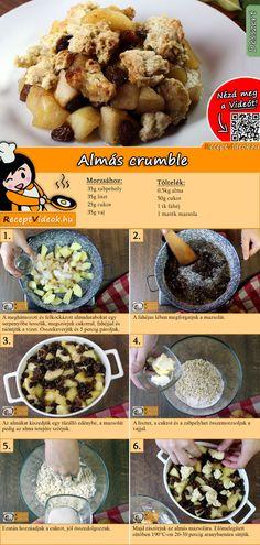 A crumble nem más, mint egy brit, illetve ír eredetű morzsasütemény. Sokféle változata ismert, lehet édes vagy sós attól függően, hogy mivel készítjük. Mi most megmutatjuk az Almás crumble receptjét, próbáld ki Te is! Az Almás crumble recept videóját a kártyán levő QR kód segítségével bármikor megtalálod! :) #AlmásCrumble #ReceptVideók #Recept #Sütemény #Desszert #SüteményRecept Hungarian Desserts, Hungarian Recipes, Salty Snacks, Tasty, Yummy Food, Health Eating, Food Hacks, Food To Make, Breakfast Recipes