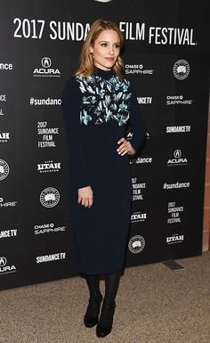 Diana Agron wearing our Mat Opaque 80 Tights at Sundance Film Festival, Jan. 2017.