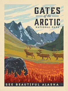 Gates of the Arctic National Park - Anderson Design Group has created an award-winning series of classic travel posters that celebrates the history and charm of America's greatest cities and national parks. Founder Joel Anderson directs a team of talented Nashville-based artists to keep the collection growing. This print celebrates the striking beauty of Gates of the Arctic National Park.