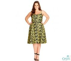 Strappy Floral Printed Skater Dress is available at Oasis Plus Size, plus size swing dresses manufacturers and supplier in USA.