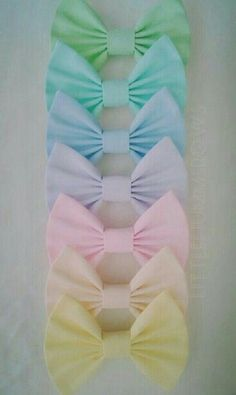 Bow bows Vintage shabby chic home decor Pastel unicorn color pink blue light violet green mint beautiful colorful kawaii things objects cute orange yellow