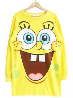 Yellow Long Sleeve SpongeBob Print Loose Sweatshirt 23.33