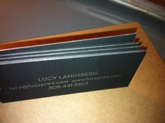 Lucy Print business cards Edge Painting in Silver to Match Ink on 24PT Touché Card Stock