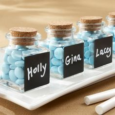 Chalkboard Glass and Cork Favor Jars by Beau-coup--cute for a kids birthday party or student teacher gifts!