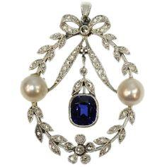 Belle Epoque diamond pearl and sapphire pendant (15104-0012)