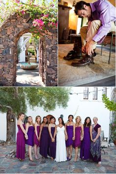 Bridesmaids in different shades of purple
