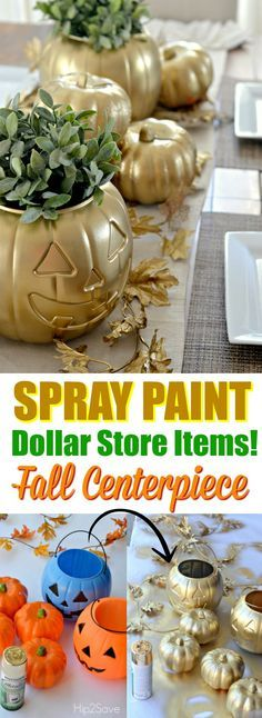 Transform a Dollar Store Pumpkin//Easy DIY halloween centerpiece//Halloween spray paint ideas//treat bucket centerpiece Table Halloween, Casa Halloween, Holidays Halloween, Halloween Crafts, Halloween Centerpieces, Dollar Tree Halloween Decor, Halloween Bunco, Dollar Store Halloween, Halloween Scene