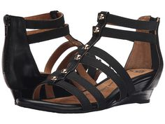 Sofft Rasida Studded Back Zip Wedge Gladiator Sandal leather/elastic black 1.5h sz7.5 89.95 4/16