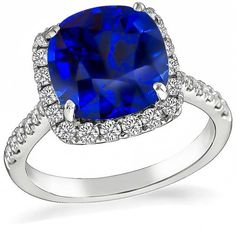 Cushion Cut Ceylon Sapphire Round Cut Diamond 18k Gold Engagement Ring