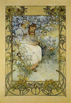 illustratedbook:  Alphonse Mucha - Blahoslavení čistého srdce … , 1906, watercolor and gouache on paper, 61.5 x 43cm. Moravská Gallery . [reference]