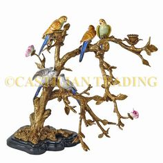 $598 Reproduction Porcelain Brass Parrot Figurine Candelabra   eBay