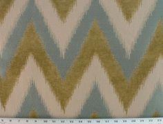 Drapery Upholstery Fabric Chenille Jacquard Chevron Ikat Design - Teal
