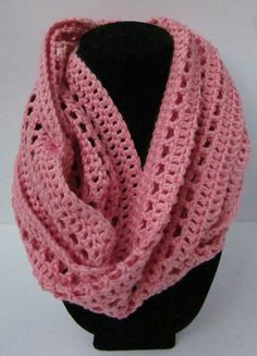 Bright Pink Crocheted Cotton Infinity Scarf by Hookedoncrochets
