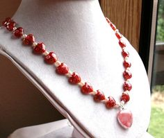 Necklace of Millefiore Glass Hearts and by SaraJewelryDesign, $46.99