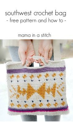 Southwest Crochet Bag - free pattern! ༺✿ƬⱤღ http://www.pinterest.com/teretegui/✿༻
