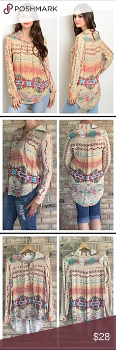 """Boho Peasant Hippie Tribal Lace Up Top S M All the latest trends in one beautiful blouse!  Hi-low - peasant sleeves - tribal print - lace up v-neck - WOW❤️ Love tops that can be worn all year long - 100% rayon - new from maker without tags Small & Medium Measurements laying flat from a small: Small  Bust 34-36 Front Length 23"""" Back 30"""". Tops Blouses"""