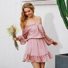 Off Shoulder Knee-Length Dress With Lantern Sleeves   Zorket