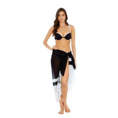 Coming Soon offers a timeless collection with a modern and graphic edge. Complete the collection with the sarong, featuring a co-ordinating monochrome design for a sophisticated beach look