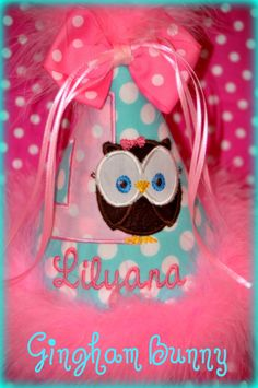 Little OWL Birthday Hat, Look Who's Turning One,  Birthday Hat Boutique Quality,  First Birthday Hat, You Choose Colors, Gingham Bunny. $27.99, via Etsy.