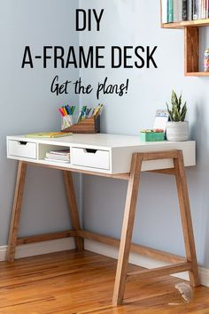 Easy DIY desk idea with plans. diy desk with drawer and storage. perfect for teen or chic home office. Full tutorial, video and plans. desk plans ana white DIY A-Frame Desk - How To Tutorial, Video and Plans - Anika's DIY Life Woodworking Furniture, Diy Woodworking, Woodworking Equipment, Woodworking Magazine, Youtube Woodworking, Woodworking Supplies, Popular Woodworking, Bedroom Decor, Rustic Furniture