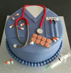 fondant cake for doctor Doctor Birthday Cake, Doctor Cake, Pretty Cakes, Beautiful Cakes, Amazing Cakes, Cupcakes, Cupcake Cakes, Medical Cake, Alphabet Cake