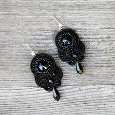 soutache. handmade. swarovski. silver. beading. earrings. leniccka. back to black