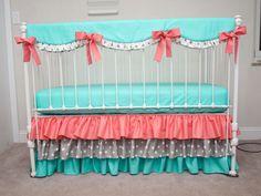 Bumperless Aqua, Coral, and Gray  Baby Girl Crib Bedding with Crib Rail Guard / Rail Cover by HandmadeBySasha on Etsy