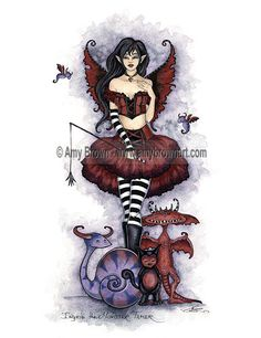 Amy Brown Shadow Circus Ingrid the Monster Tamer 8.5x11 Fairy Print