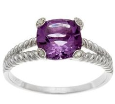 2.6ct Cushion Genuine Amethyst and Diamond Ring in Rope Silver