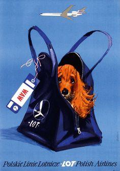 LOT Polish Airlines Poster, Design Janusz Grabian'ski, 1974