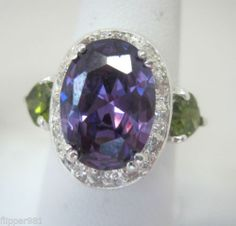 y<3 Sterling Silver Amethyst and Peridot Halo Ring