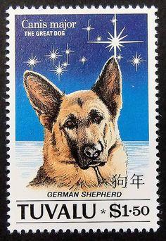 German Shepherd Dog Handmade Framed Postage by PassionGiftStampArt