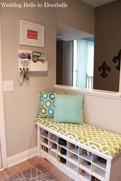 Mudroom, bench beside door and open shelves at bottom (bigger?)