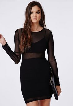 Bra Detail Mesh Mini Dress Black - Dresses - Mini Dresses - Missguided