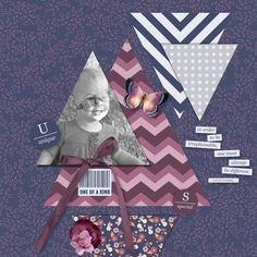 Younique by Emily Silverman using Younique bundle by Melo Vrijhof Scrapbook Layouts, Scrapbooking, Younique, Word Art, Stamping, My Design, Triangle, Challenges, Purple