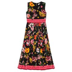 Gucci Garden Exclusive Silk Dress (9.140 BRL) ❤ liked on Polyvore featuring dresses, gucci, pleated dress, floral pattern dress, print dress, floral printed dress and zipper back dress