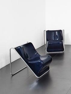 Alberto Rosselli; #P110 Lounge Chairs for Saporiti, 1971.