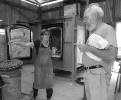 Vivien Lightfoot, ceramic studio holder, discussing a successful firing with Michael Sainsbury. The works were fired in Strathnairn Arts' Morris 90 kiln February 2015 which can be seen behind Vivien. Ceramic Studio, February 2015, Studios, Artist, Pottery Studio, Amen, Artists