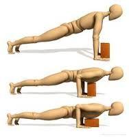 Use a yoga block to ease into full Chaturanga Dandasana.i used this for about a week and now I can do then with ease! Yoga Stretching, Yoga Moves, Iyengar Yoga, Namaste Yoga, Yoga Meditation, Pranayama, Hata Yoga, Fitness Del Yoga, Ayurveda