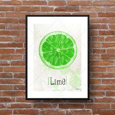 Illustration moderne de fruits [Lime]. Idéal pour afficher dans la cuisine ou salle à dîner.