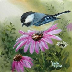Chickadee in Purple Coneflowers Original Oil Painting