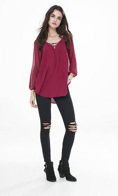 Chiffon Raglan Sleeve Lace-up Tunic Blouse | Express