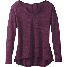 Prana Blythe Sweater ($49) ❤ liked on Polyvore featuring tops, sweaters, prana sweater, henley sweater, relaxed fit tops, henley top and purple top