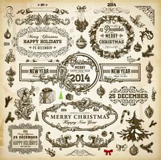 Vintage Christmas and New Year 2014 vector design elements