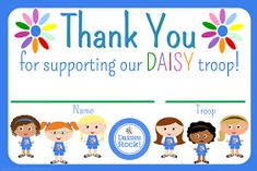 CLICK HERE for the Printable Thank You card  (4 per page or 9 per page) for Daisies or click on the image below.  This would be great to us...