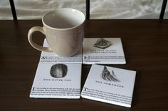 Get the look of these Harry Potter coasters ($20) by using ceramic tiles, Harry Potter book pages, and a fe...