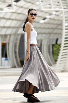 Romantic Maxi Skirt Long Linen Skirt in Grey  by Sophiaclothing, $74.99