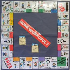 Homeworkopoly board.  The links to printable file are easily accessible in this blog.