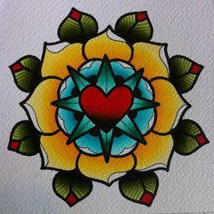 Traditional American Style mandala flower